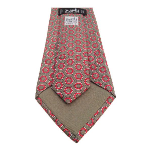 HERMES Sage Multi-color Silk Neck Tie Red White Equestrian Print