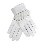 HERMES Vintage white Leather Lace Up Wrist Detail Gloves Size 7