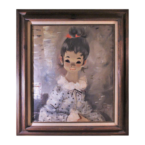 IGOR PANTUHOFF 1970s Original Girl with Grey Hair and Red Bow Painting