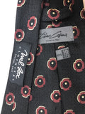 TINO COSINA Black Silk Neck Tie with Burgundy Floral Pattern 58 in.