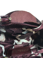 GILLI SHINY Small Patent Leather Burgundy Bag with Rose Detail Front