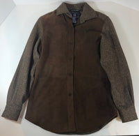 FACONNABLE Brown Suede Tweed Oversized Long Sleeve Size XS