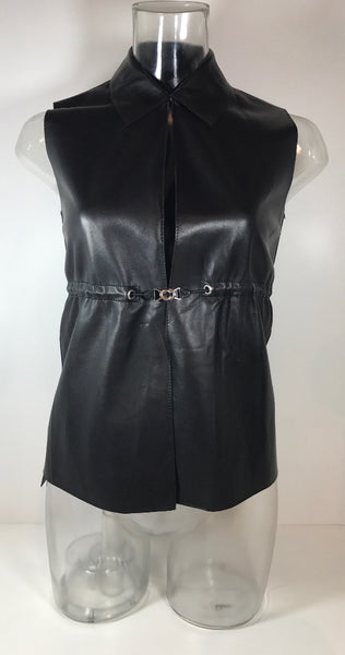 Prada Black Leather Vest with adjustable clasping waist Belt NWT Size 40