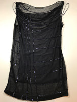 DONNA KARAN Sheer Sequin Tank, Tube Top Evening Club Wear Size 2