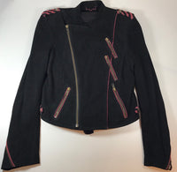 ZADIG & VOLTAIRE Black Suede Biker Jacket with Red Detailing Size S