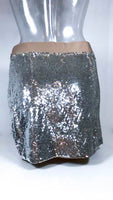 HAUTE HIPPIE Silver Sequins Skirt with Nude Ribbon Waist Size XS