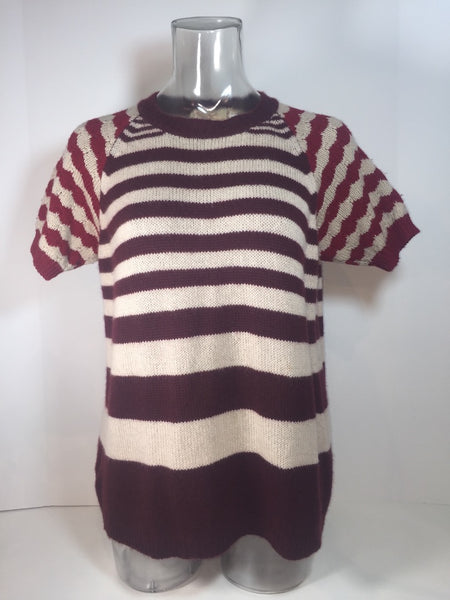 Marni Cashmere and Virgin Wool Striped Burgundy Sweater 38