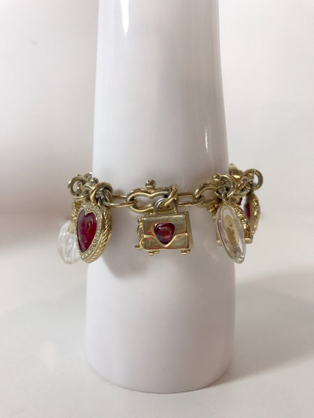 St. John Gold Toned Charm Toggle Bracelet with hearts and red Rhinestones