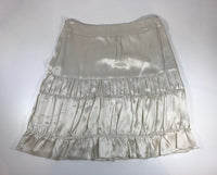 MIU MIU Cream Silk Tiered Short Skirt Size 38