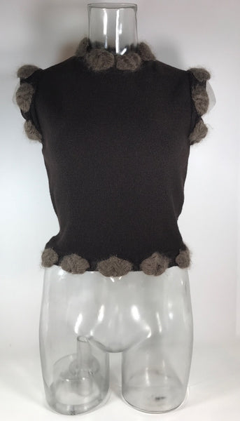 Christian Dior Brown Mohair Sleeveless Sweater Size 6 Xs
