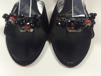 GIUSEPPE ZANOTTI Black Sandal Heels with Beading on Toe Strap Size 9