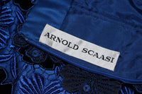 ARNOLD SCAASI Blue Dress, Floral Pattern Size 10-12