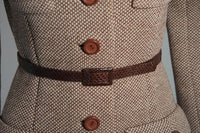 NORELL Brown Wool Coat w/ Brown Snakeskin Belt Size Small