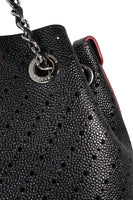 CHANEL Perforated Black Leather & Burgundy Suede Tote