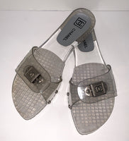 CHANEL Clear Slip On Sandals Size 8
