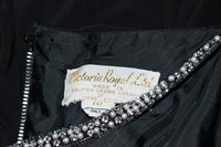 VICTORIA ROYAL Black Draped Jersey Gown with Rhinestone Straps 4