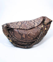 VALENTINO Snakeskin Hobo with Gold Hardware and Wood Accents