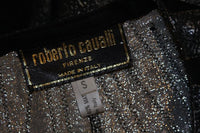 ROBERTO CAVALLI Lace Metallic Suede Jacket, Belt Size Small