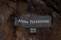 ANNA TRZEBINSKI Brown Leather Drape Collar Fur Vest Size 44