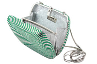 JUDITH LEIBER Green and Clear Striped Rhinestone Clutch