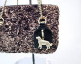 BARRY KEISELSTEIN-CORD Petite Curly Lamb Dog Purse with Gold Hardware