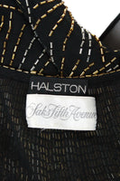 HALSTON 1970s Black Evening Dress  & Jacket with Beaded Fireworks