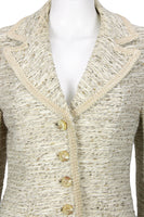 LILLI ANN 1960s Beige Boucle Blazer with Ribbon Trim