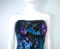 VINTAGE Abstract Blue Purple Lavender Sequin Bustier