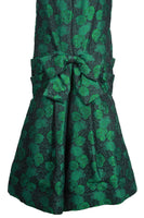 ARNOLD SCAASI 1980s Dark Green Floral Brocade Gown with Jacket