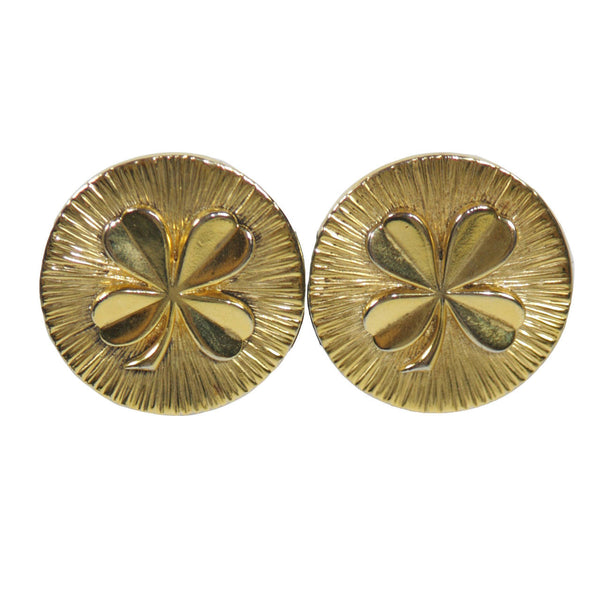 CHANEL Gold Tone Four Leaf Clover Clip on Earrings