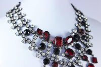 KENNETH JAY LANE Attributed Black Metal and Rhinestone Statement Necklace