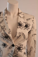 MOSCHINO White with Black Floral Sketch Single Button Blazer