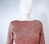GENE SHELLY'S Vintage Rose Wool Beaded Gown Size 4-8