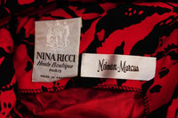 NINA RICCI Black and Red Open Back Abstract Silk Gown size 4