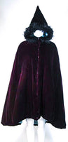 JEAN PAUL GAULTIER Purple Velvet Puff Cloak with Pointed Hood Size 42