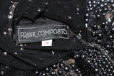 FRANK COMPOSTO Black Cocktail Dress w/ Beaded Sleeves Size 8