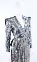 ESTEVEZ Silver Sequin and Velvet Gown Peplum Size 2