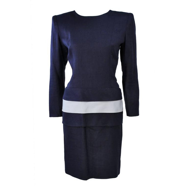GIVENCHY Couture Navy Linen Color Block Dress with Bow Size 6