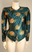 EMANUEL UNGARO Teal Floral Skirt Suit with Rouching Size 6