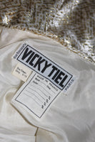 VICKY TIEL Ivory and Gold Velvet Texture Cocktail Dress Size 38