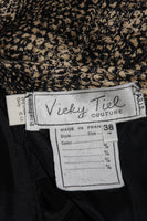 VICKY TIEL Silk Snakeskin Cocktail Dress with Draping Size Small