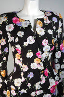 VICKY TIEL Black Floral Print Skrt Suit with Lace Panel Size Small