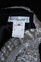 KARL LAGERFELD Black Silk Chiffon Dress w/ Embellished Bust Size 40