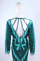 BOB MACKIE Circa 1980s Turquoise Beaded Gown