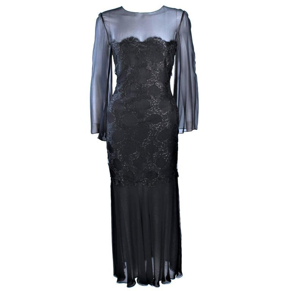 BILL BLASS Black Chiffon Gown with Gold Bodice Size 12