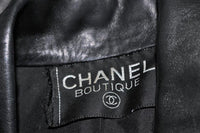 CHANEL Black Leather Jacket with Quilted & Gold Accents Size 8