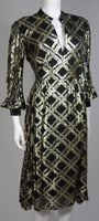 CEIL CHAPMAN Black Silk and Gold Cocktail Dress Size M