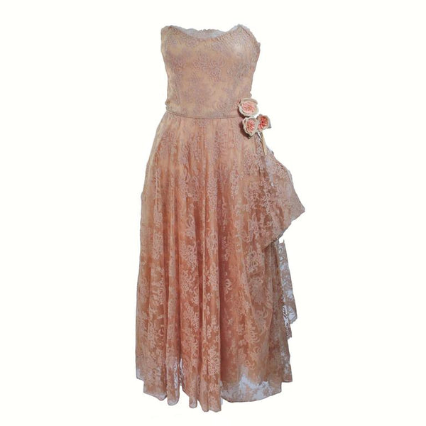 CEIL CHAPMAN 1950s Nude Lace Strapless Cocktail Dress Size 4