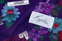 TRAVILLA 1980s Purple Floral Print Pleated Gown Size 4-6