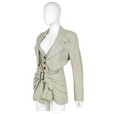 JOHN GALLIANO Beige Crepe Blazer with Brown Buckle